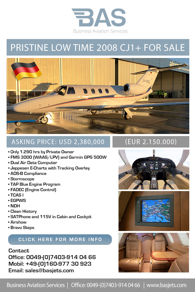 BAS Business Aviation Services | Pristine Low Time 2008 CJ1+ for Sale