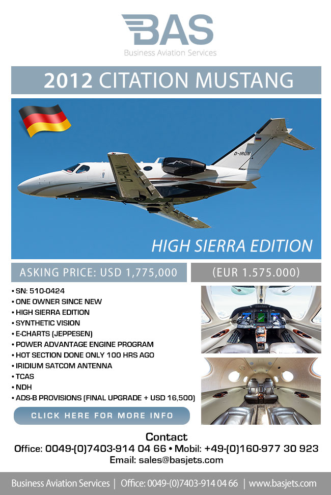 BAS Business Aviation Services | Pristine 2012 Citation Mustang for Sale