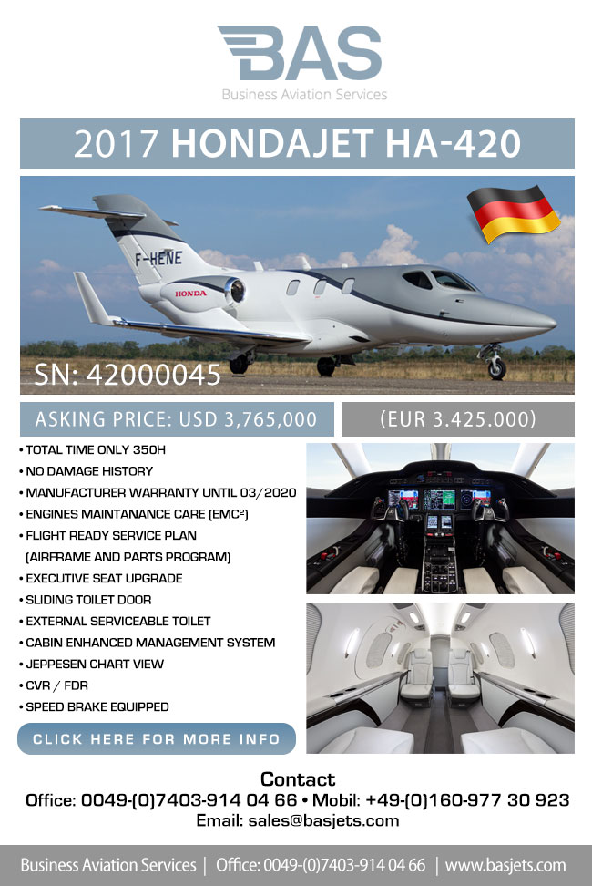 BAS Business Aviation Services | Pristine 2017 HondaJet HA-420 for Sale
