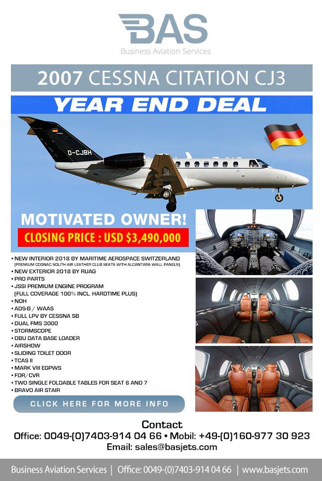 BAS Business Aviation Services   Unique VIP Equipped Cessna CJ3 for Sale