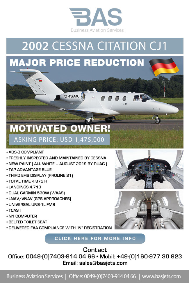 BAS Business Aviation Services | Unique 2002 Cessna Citation CJ1 for Sale