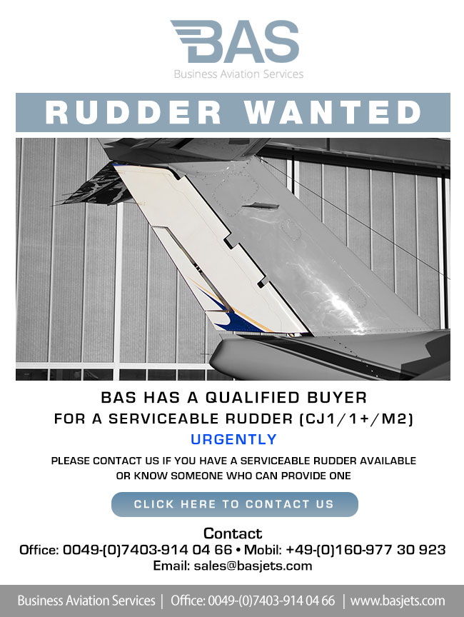 BAS Business Aviation Services | RUDDER WANTED for CJ1/1+/M2