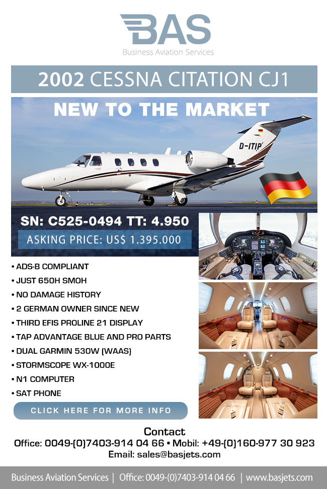 BAS Business Aviation Services | New to The Market Cessna Citation CJ1 D-ITIP for Sale