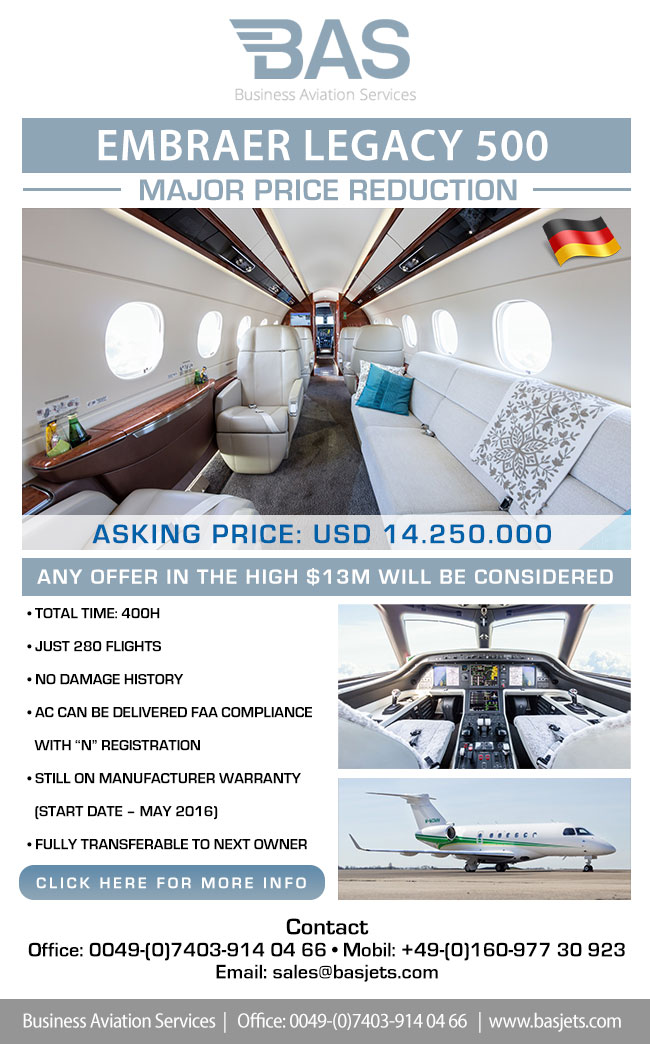 BAS Business Aviation Services | MAJOR PRICE REDUCTION 2016 LEGACY 500 for Sale