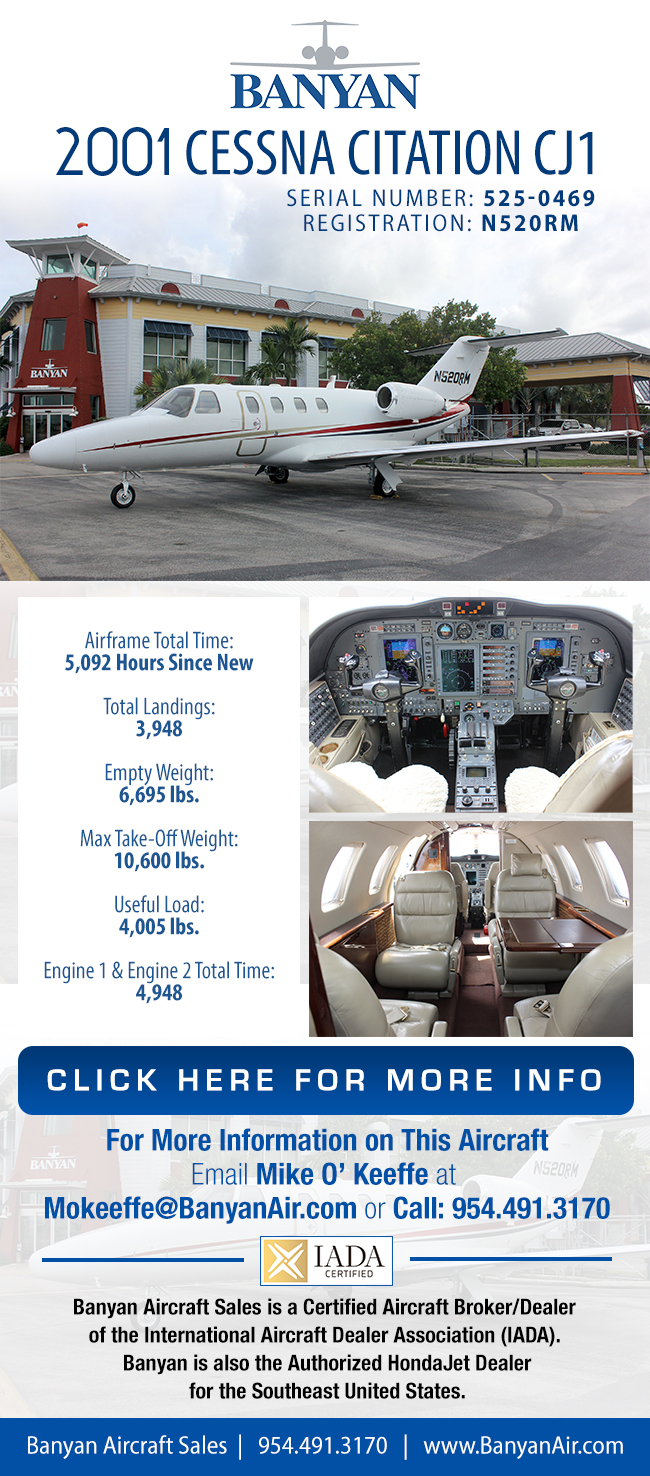Banyan Air Service | 2001 Cessna Citation CJ1 for Sale