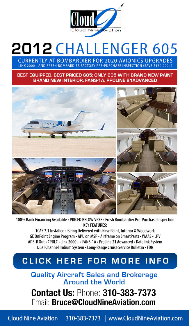 Cloud Nine Aviation | 2012 Challenger 605 for Sale