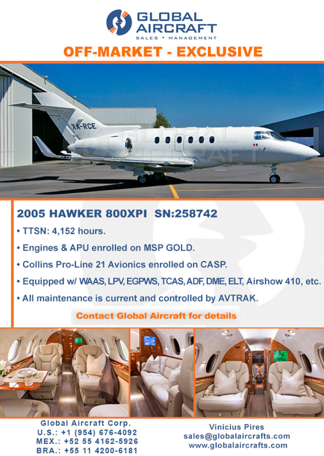 Global Aircraft | Exclusive 2005 Hawker 800XPI - Off-market Opportunity!