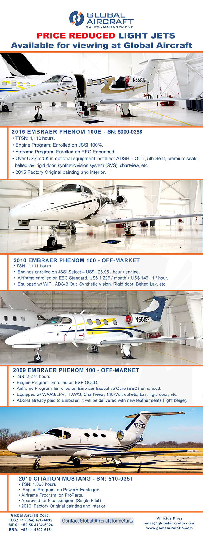 Global Aircraft | Price Reduced! 4 Amazing Jets for Sale | 2015 Embraer Phenom 100E • 2010 Embraer Phenom 100 • 2009 Embraer Phenom 100 • 2010 Citation Mustang