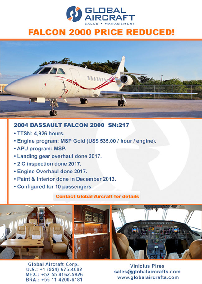 Global Aircraft | 2004 Dassault Falcon 2000 - Price Reduced!
