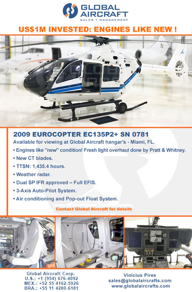Global Aircraft | 2009 EC135P2+ - US$ 1M Invested: Engines Like New!