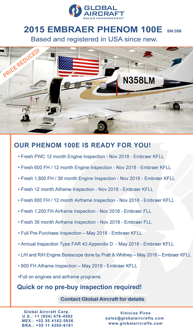Global Aircraft | 2015 Embraer Phenom 100E | Full Sale or Fractional