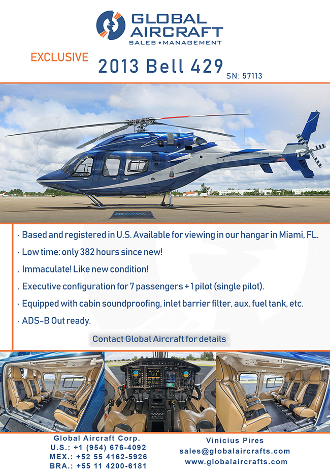 Global Aircraft | Amazing U.S based 2013 Bell 429 for Sale!