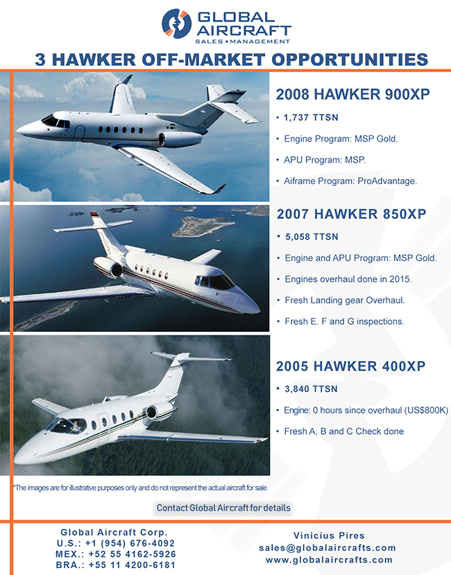 Global Aircraft | 3 Off-Market Hawker Opportunities! | 2008 Hawker 900 XP, 2007 Hawker 850 XP, 2005 Hawker 400XP |