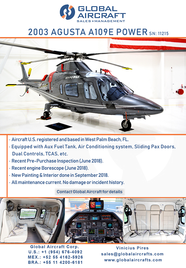 Global Aircraft | Impeccable 2003 Agusta Power for Sale!