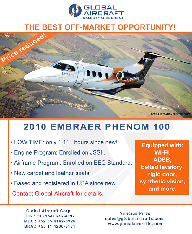 Global Aircraft | US Based Off-Market Phenom 100 for Sale!