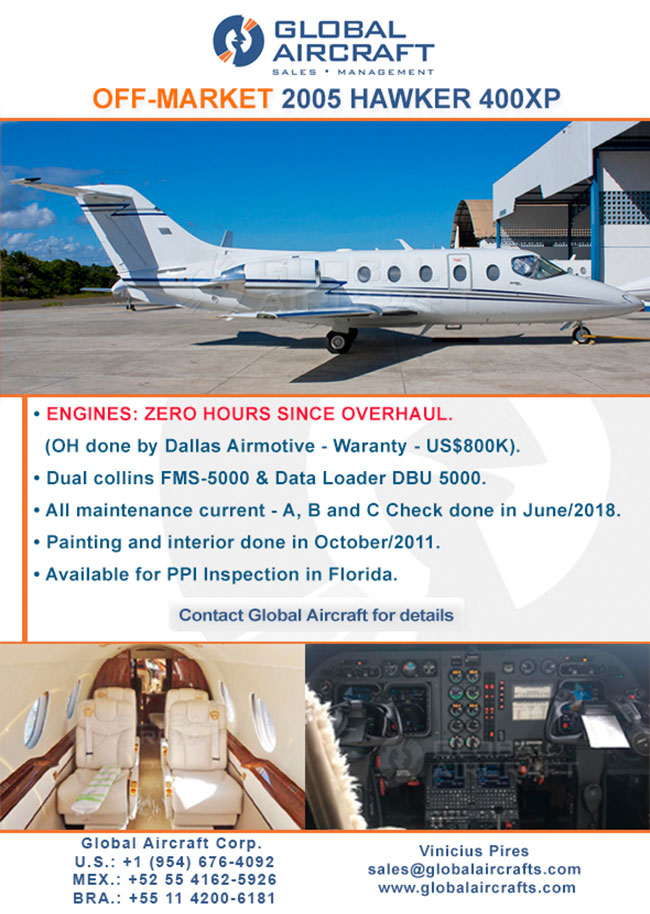 Global Aircraft | Off-Market 2005 Hawker 400XP for Sale!