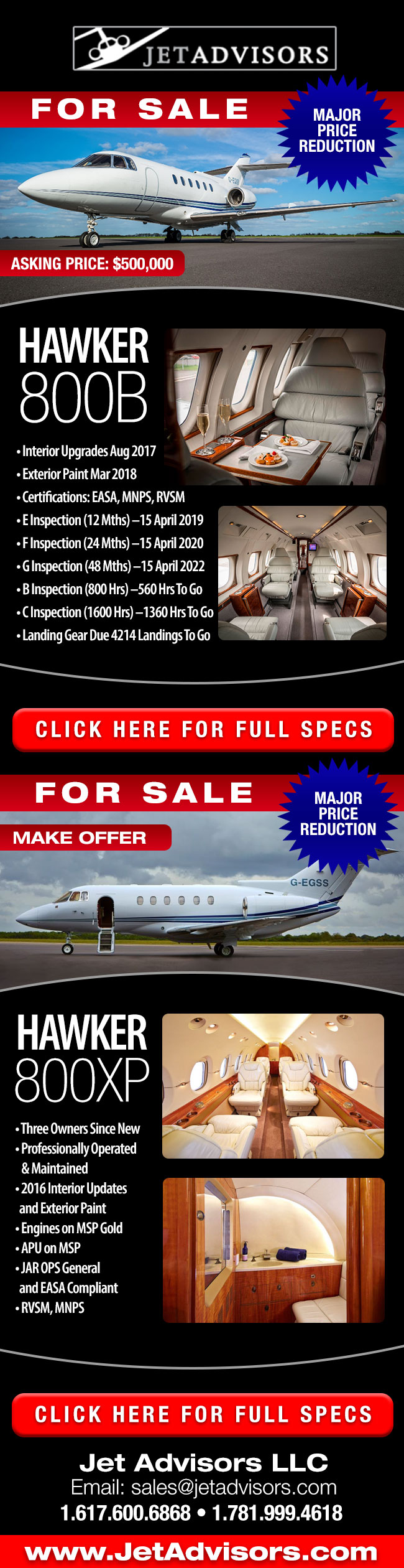 Jet Advisors | 1985 Hawker 800B and 2000 Hawker 800XP For Sale