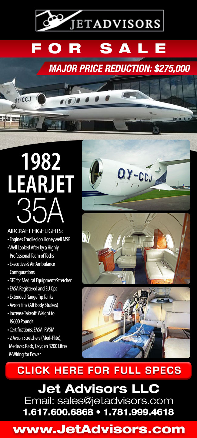 Jet Advisors | 1982 Learjet 35A for Sale MAJOR PRICE REDUCTIONS