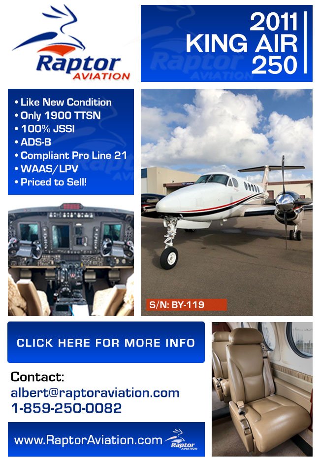 Raptor Aviation | Amazing 2011 King Air 250 for Sale