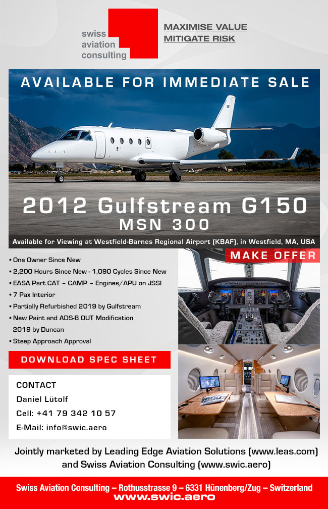 Swiss Aviation Consulting | AVAILABLE FOR IMMEDIATE SALE - 2012 Gulfstream G150
